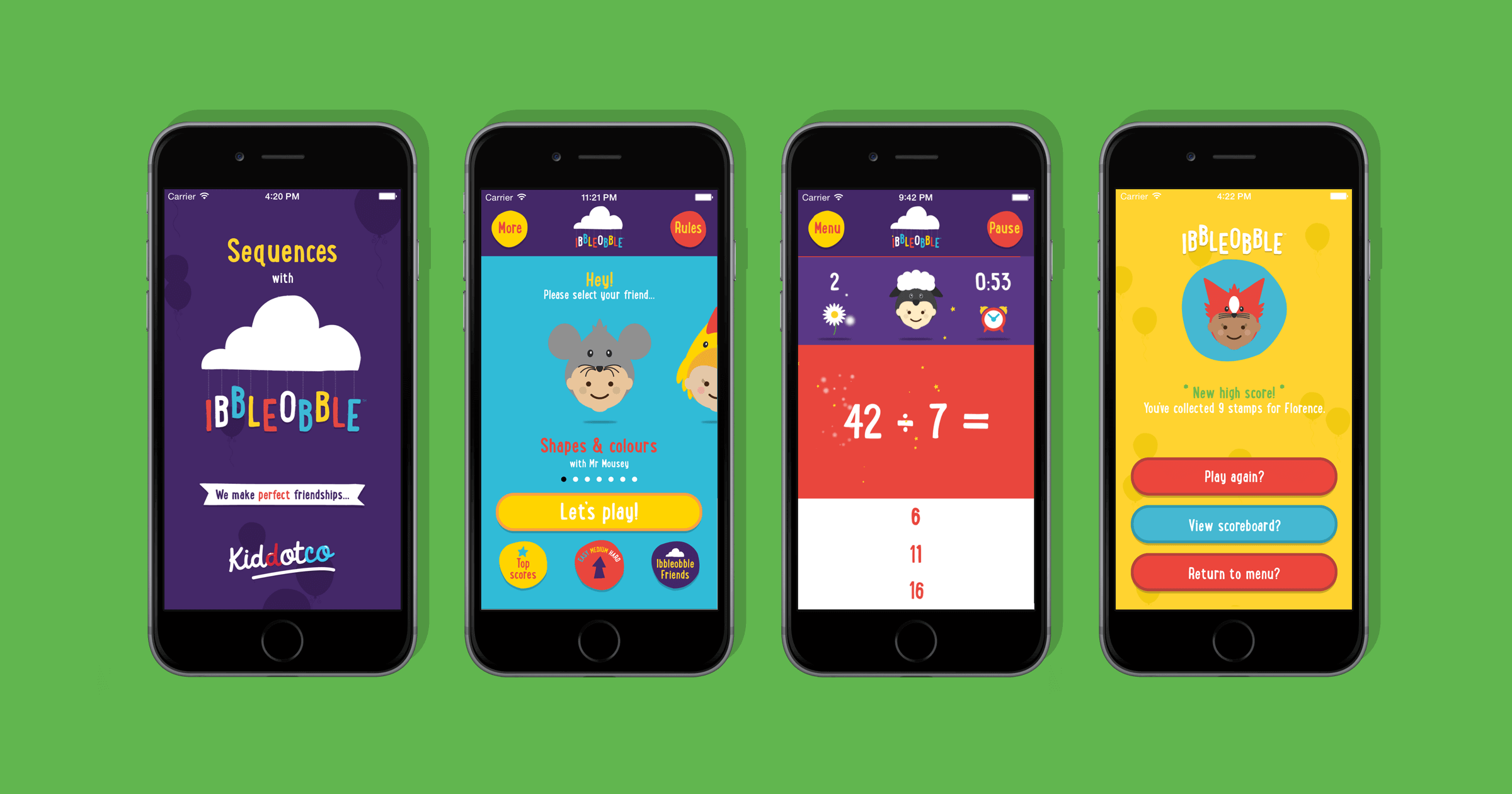 Ibbleobble user Interface and gameplay