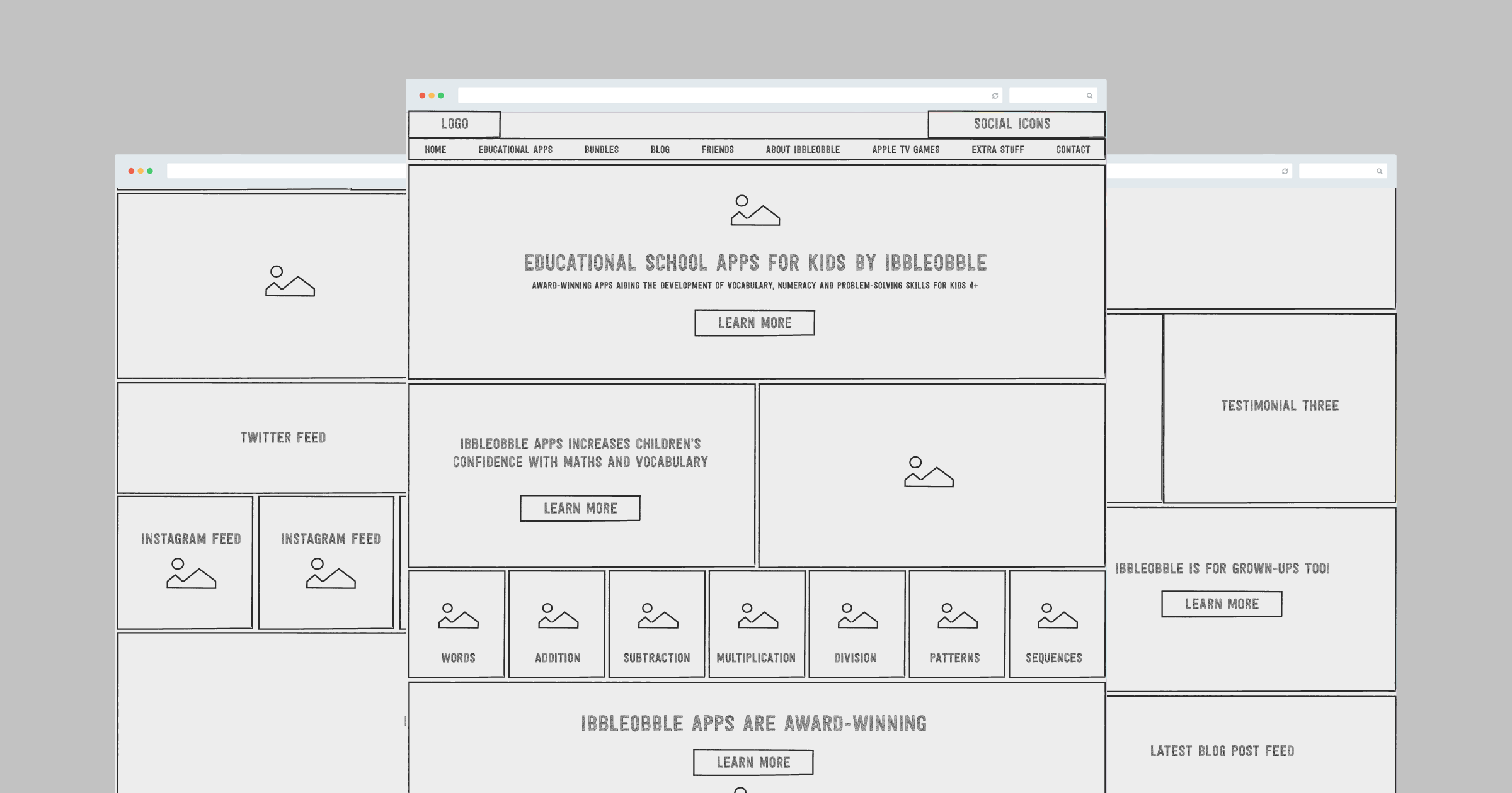 ibbleobble website wireframe